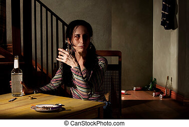女, アルコール中毒患者
