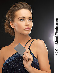 女, イブニングドレス, カード, プラスチック