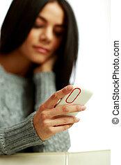 女, イメージ, 若い, フォーカス, 電話, クローズアップ, 保有物, smartphone.