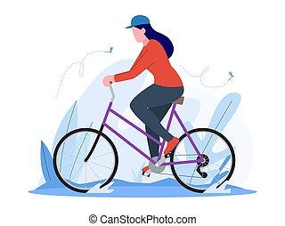女, イラスト, 乗馬の自転車, ベクトル, 型
