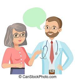 女, イラスト, 医者, 患者, 話し, ベクトル, シニア, 医者