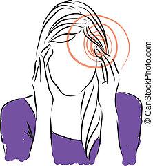 女, イラスト, 頭痛