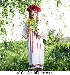 女, ウクライナ, 若い, 伝統的である, ポーズを取る, 衣装, 屋外で