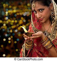 女, オイル, diwali, ランプ, indian, 手を持つ