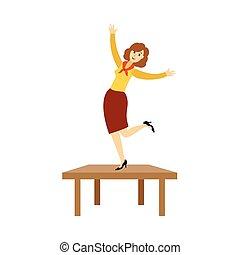 女, オフィス, ダンス, かなり, パーティー, 企業である