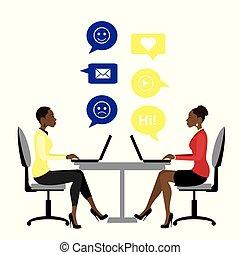 女, オフィス, ビジネス, モデル, 労働者, アメリカ人, アフリカ, テーブル, ∥あるいは∥