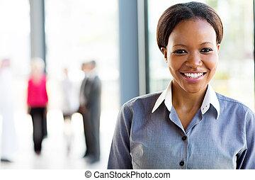 女, オフィス, ビジネス, 若い, アメリカ人, アフリカ