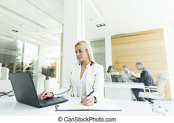 女, オフィス, 仕事, 若い