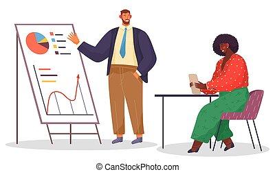 女, オフィス, 情報, プレゼンテーション, スタッフ, stand., 分析的, 仕事, 人, オフィス