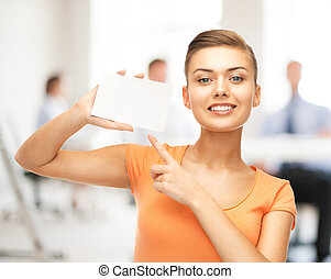 女, オフィス, 指すこと, ブランク, 白, カード