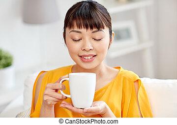 女, カップ, お茶, アジア人, 飲むこと, 幸せ