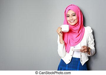 女, カップ, お茶, 若い, 魅力的, 持つこと