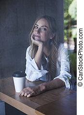 女, カフェ, 若い
