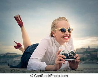 女, カメラ