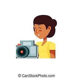 女, カメラ, 観光客