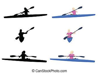 女, カヤックを漕ぐ