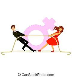 女, カラフルである, イラスト, ベクトル, 引く, ロープ, 特徴, 人, 服, フェミニズム, 赤