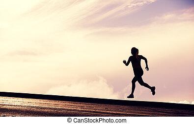 女, カラフルである, ランナー, 空, シルエット, 動くこと, 日没, 女性, 日没