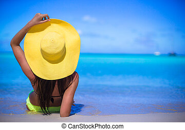女, カリブ海, 若い, 黄色, 休暇, の間, 帽子