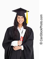 女, ガウン, 程度, 卒業, 服を着せられる, 彼女
