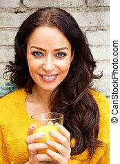 女, ガラス, ジュース, 保有物, オレンジ, 微笑