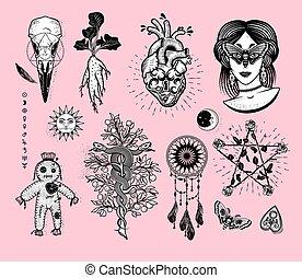 女, キャッチャー, moth, シンボル, ばら, ヘビ, pentagram, からす, occultism, 心, 錠, ブードゥー教, 木, skull., alchemical, セット, 目, 人形, mandrake, 夢, 根