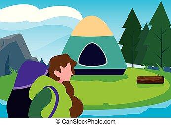 女, キャンプ, 森林, 川の景色, テント
