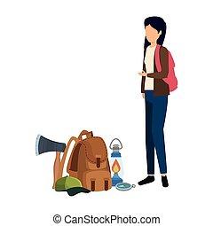 女, キャンプ, 袋, 旅行, 若い, 装置