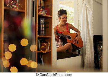 女, ギター, 黒, 家, 歌うこと, 遊び