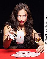 女, ギャンブル, 上に, 赤いテーブル