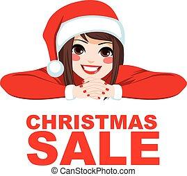 女, クリスマス, セール