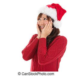 女, クリスマス, 空想にふける, アジア人