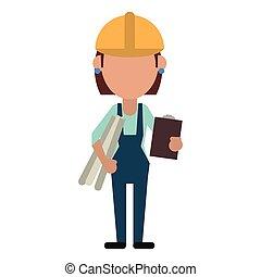 女, クリップボード, 計画, architec