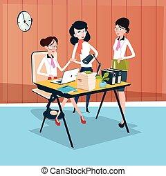 女, グループ, ビジネスオフィス, チームワーク, 仕事場, チーム