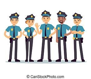 女, グループ, officers., 警官, ベクトル, 特徴, 警察男