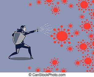 女, コロナ, ビジネス, スプレー, pandemic, 保護, 19, 戦い, ウイルス, covid, 届く, ...
