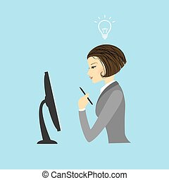 女, コンピュータモニター, ビジネス, モデル