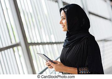 女, コンピュータ, タブレット, muslim