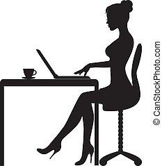 女, コンピュータ, モデル