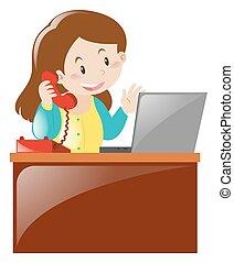 女, コンピュータ, 仕事, 机