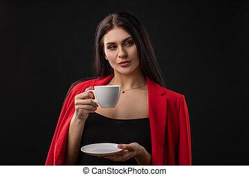 女, コーヒー, 美しい, 飲むこと, 幸せ, カップ