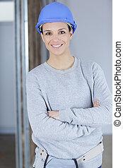 女, サイト, 労働者, 幸せ, 建設, 若い
