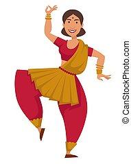 女, サリー, ダンス, ダンス, 特徴, 隔離された, 伝統的である, indian, 女性