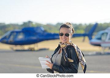 女, サングラス, 背景, 飛行機