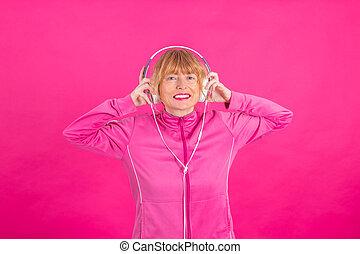 女, シニア, 聞くこと, ヘッドホン, 音楽, 成人, 色, ∥あるいは∥, 背景