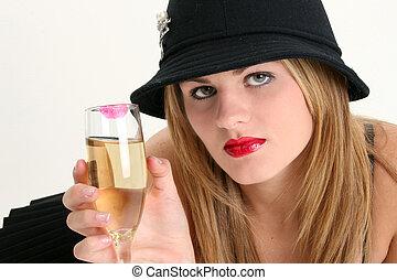 女, シャンペン