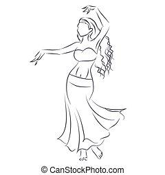 女 シルエット, ダンス, 提示, 若い, 腹, 線