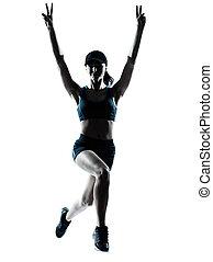 女 シルエット, ランナー, ジョガー, 跳躍, 勝利
