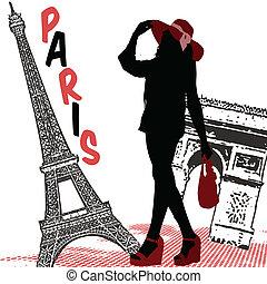 女 シルエット, 上に, パリ