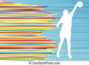 女 シルエット, 抽象的, イラスト, プレーヤー, ベクトル, 背景, バスケットボール